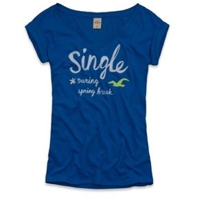 Hollister Single During Spring Break blue tee